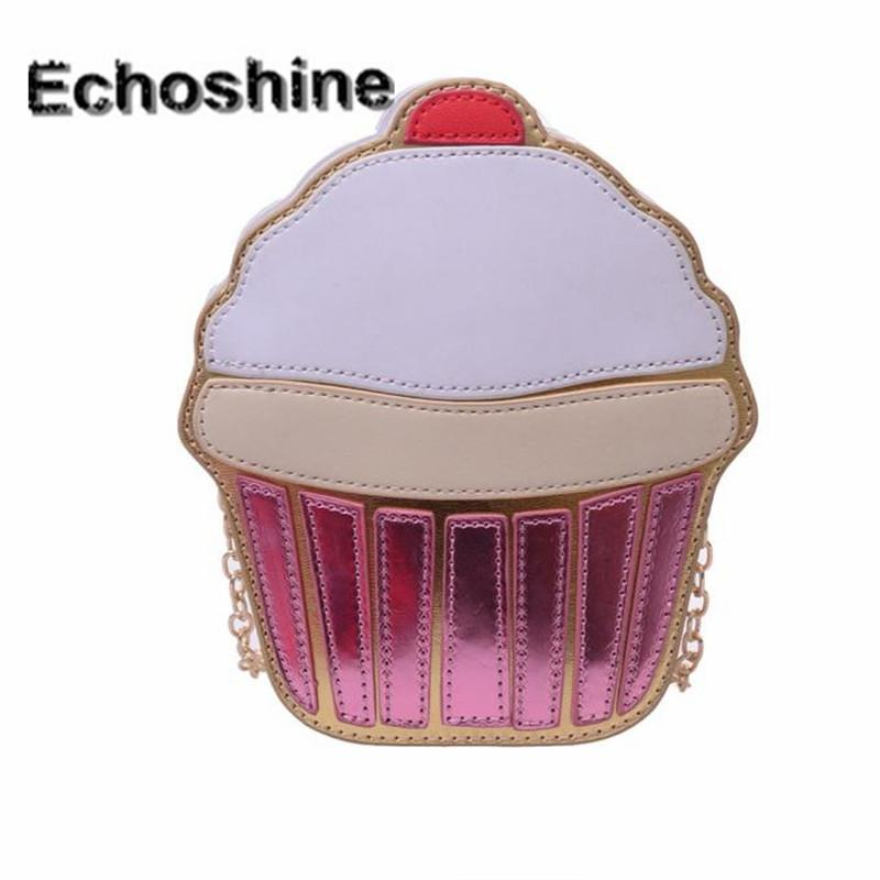 Wholesale- Excellent Quality Women Cute Ice Cream Cupcake Mini Bags Leather Chain Clutch Crossbody Girl Shoulder Messenger Bag New A1000