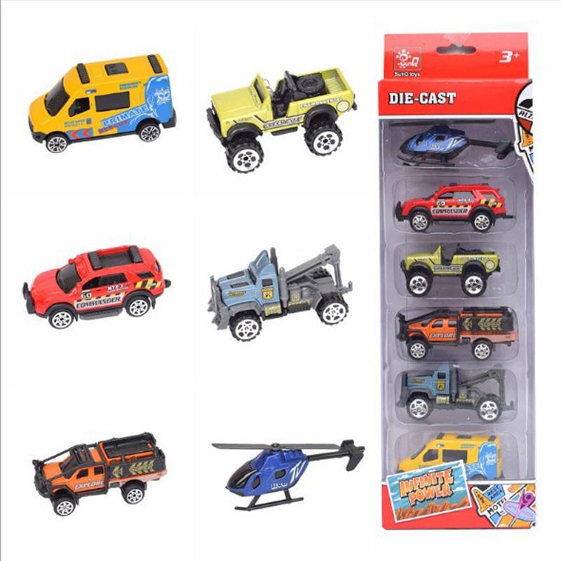 6 x Mini Tierreibungsgetriebenes Auto Zurückziehen ATV Buggys Kinderspielzeug