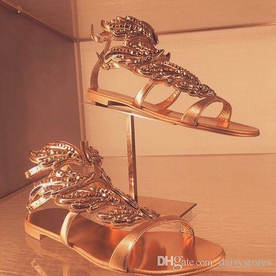 Кристаллический гладиатор с покрытием Bling Crystal Gladiator Блестящие каблуки сандалии высокой кожи просверленные золотые крылья Bridal сексуальные свадебные сандалии крылатые HBQWL