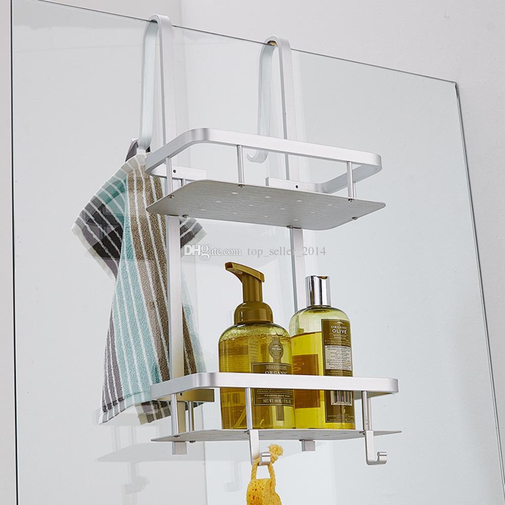 2018 2 Tier Bathroom Over The Door Shower Caddy Basket Hanging ...