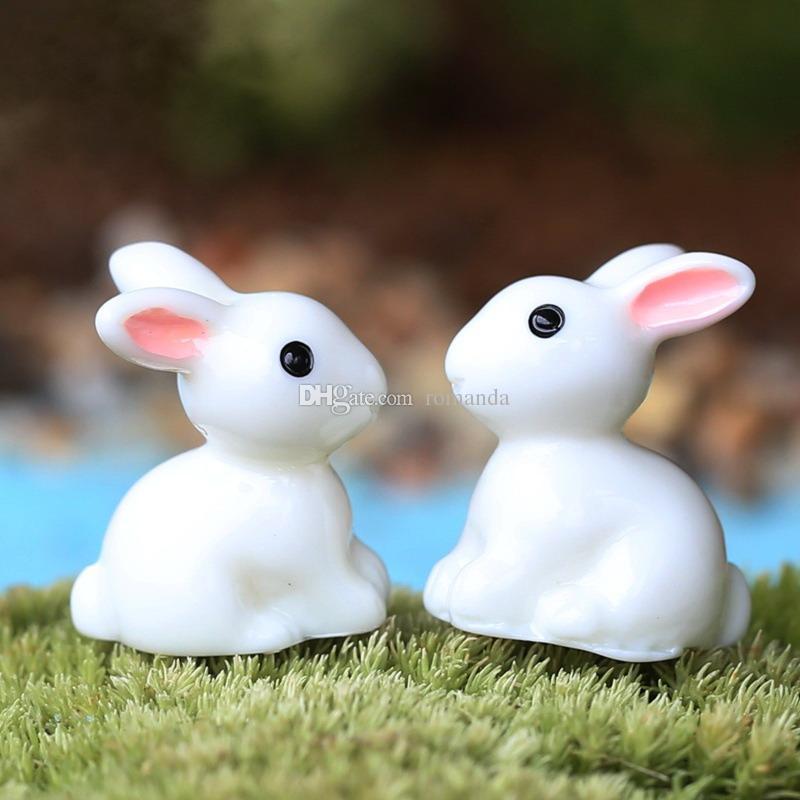 الجنية حديقة مصغرة أرنب أرنب أبيض اللون الاصطناعي مصغرة الأرانب الديكورات الراتنج الحرف بونساي الديكورات عيد الفصح الأرنب dhl شحن مجاني