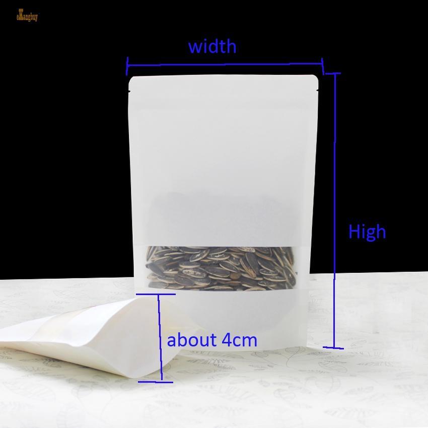 100 pz / lotto 7 formati bianco kraft sacchetto di imballaggio di carta glassato windows stand up chiusura lampo sacchetti di imballaggio zip pacchetto rivenditore
