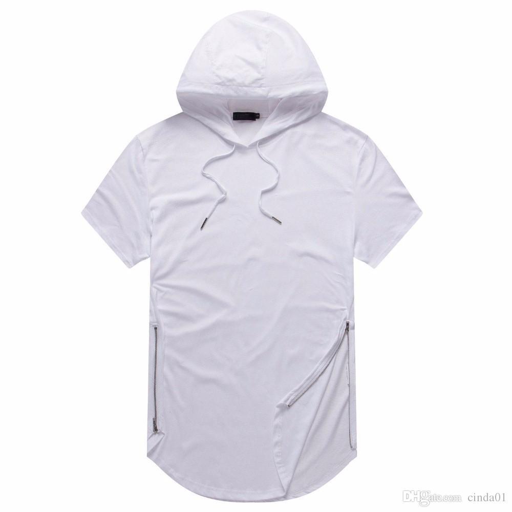 El hombre verano camisetas palangre Curva Hem camiseta con capucha diseño de la cremallera de manga corta Tops Casual para Hombre