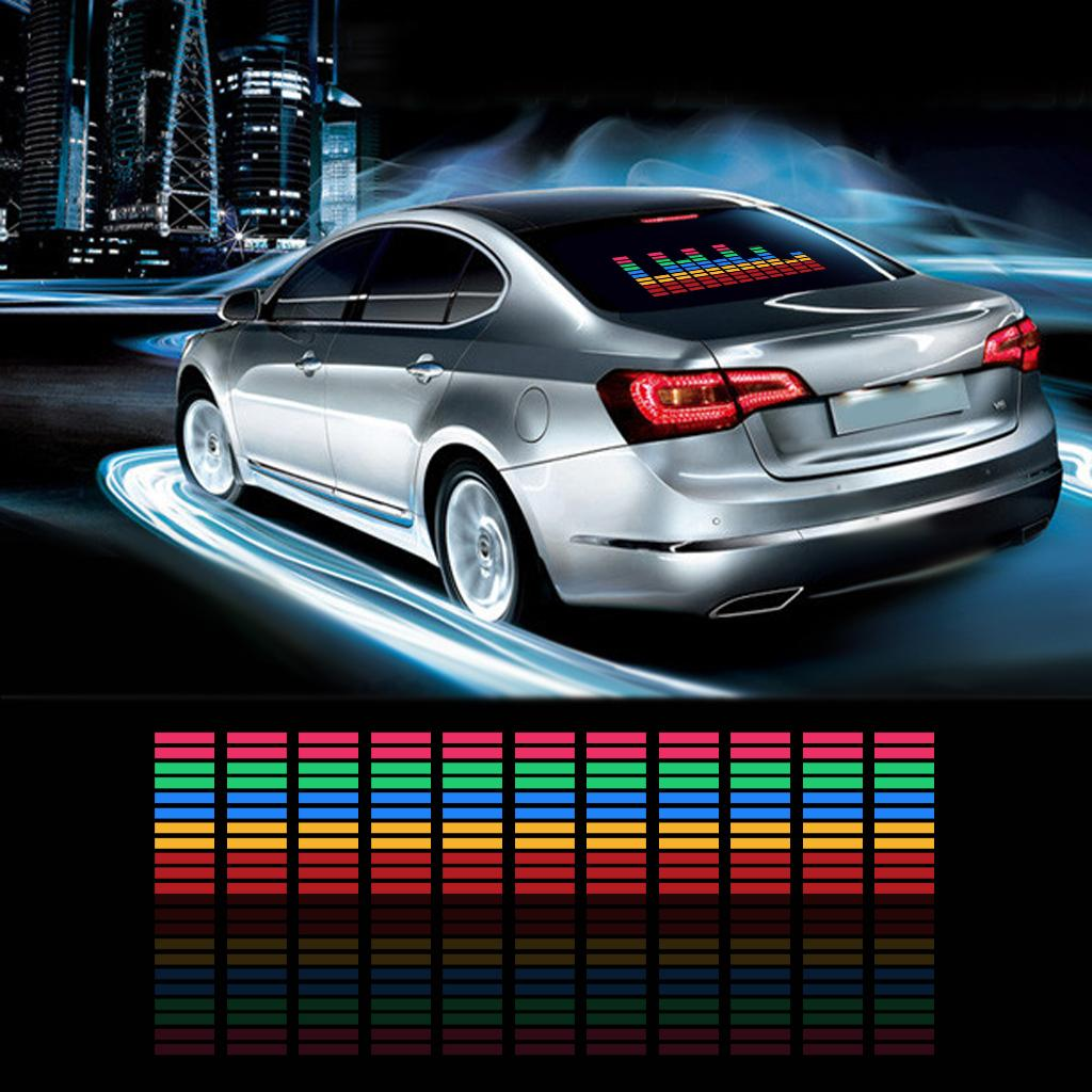 Car Sticker Music Rhythm LED Flashing Lights Lamp Sound Activated Equalizer