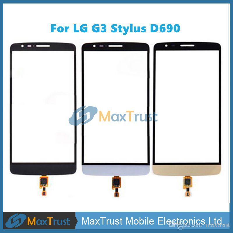 """Top Quality 5.5"""" Tela Para LG G3 Stylus D690 D693 Toque substituição digitador Frente Sensor painel de vidro preto branco da cor do ouro"""