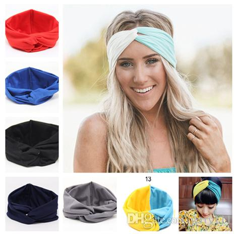 Hot Sales New 19 Colors Solid Twist Sport Fashion Yoga Stretch Headbands Women Turban Bandana Head wrap Hair Accessories LC441