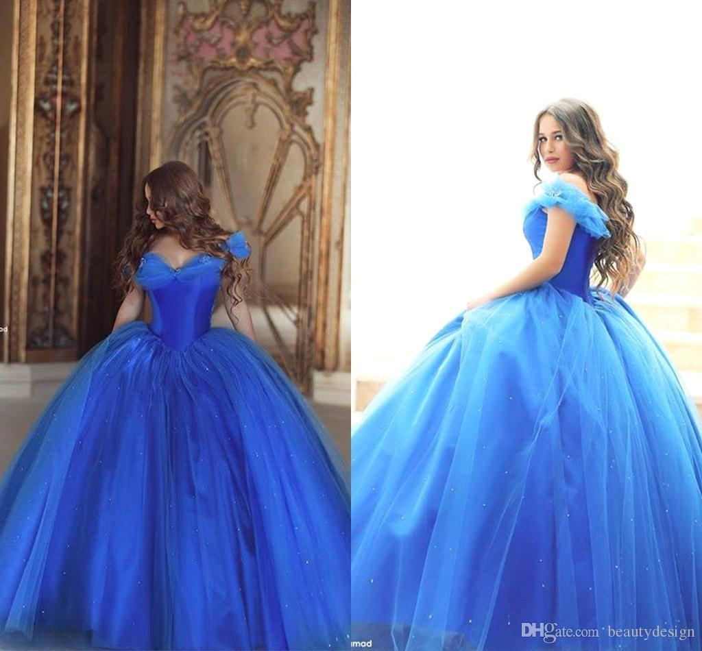 Großhandel 18 Cinderella Neue Abendkleider Vintage Weg Von Der Schulter  Königsblau Perlen Tüll Bodenlangen Brautkleider Prom Kleider Von