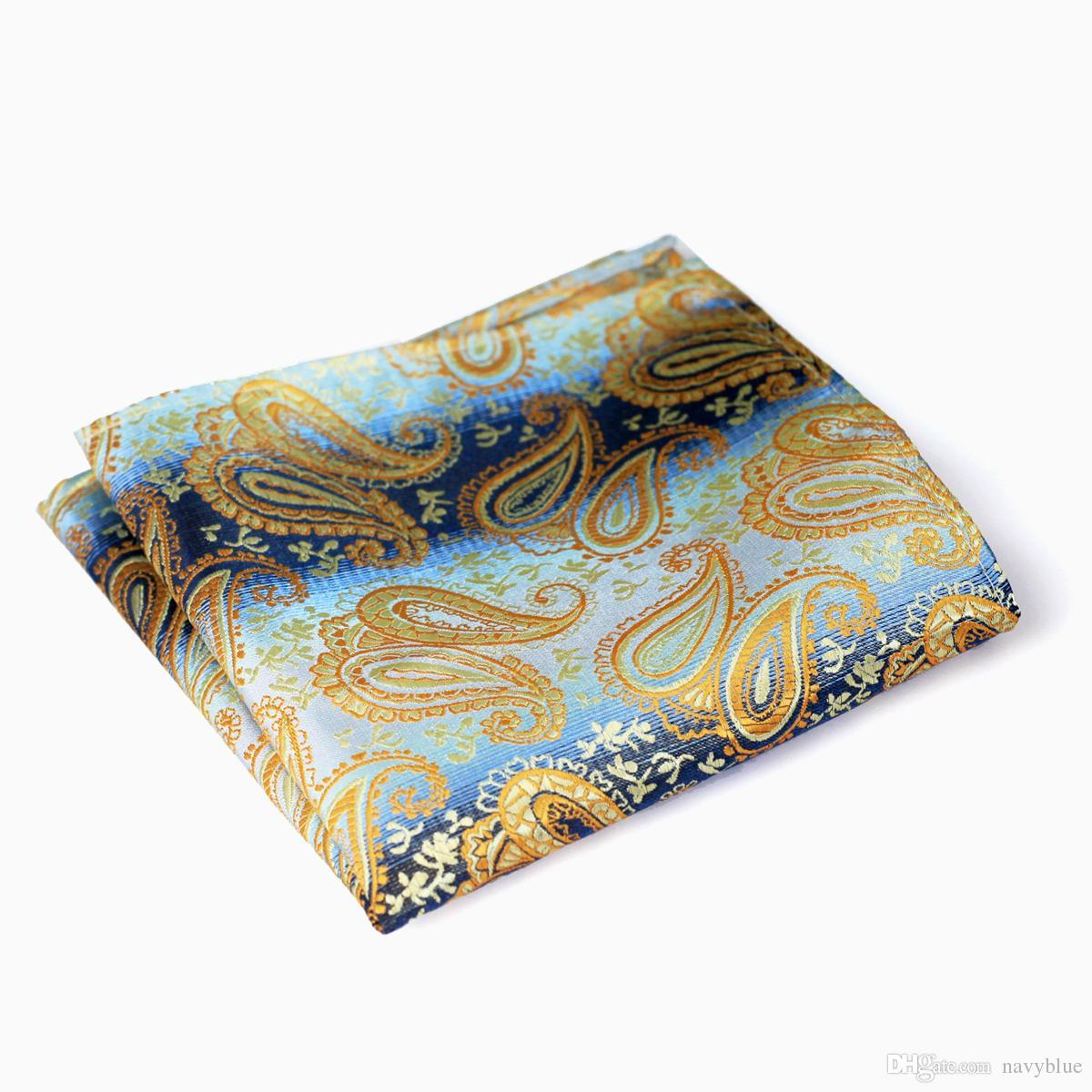 بيزلي الأزرق الداكن الذهب الأصفر البني أحمر أسود فضي رجل مناديل 100٪ الحرير الجاكار المنسوجة جيب مربع بالجملة شحن مجاني
