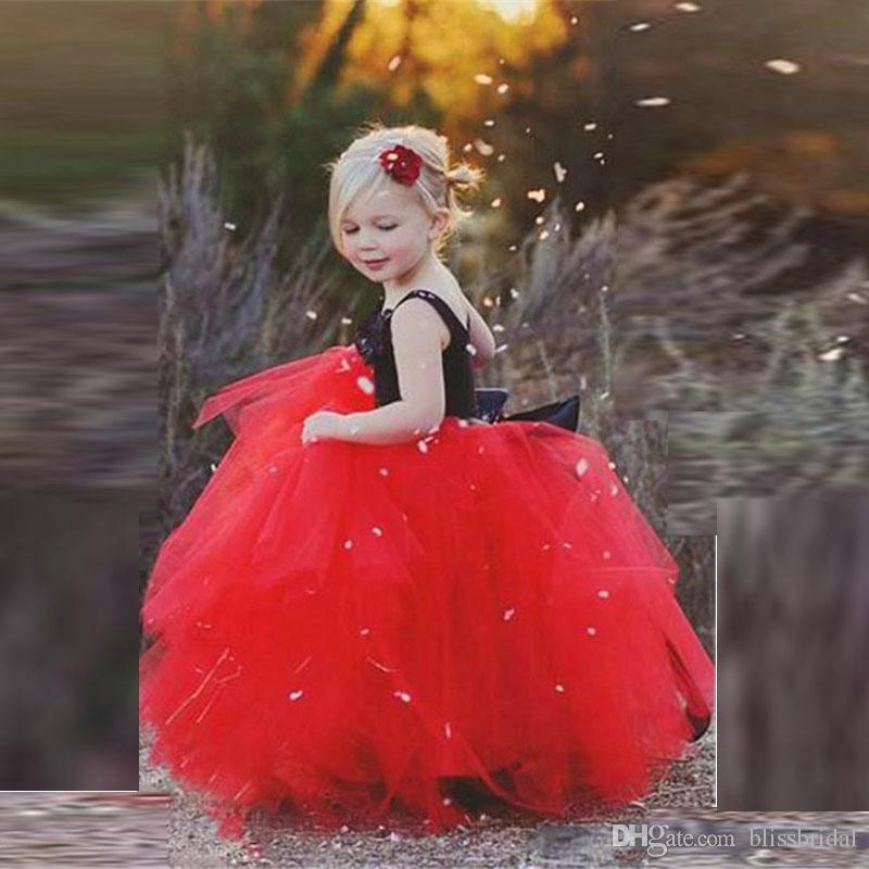 2017 Lovely Black and Red Tulle Flower Girl Dress Custom Made Spaghetti Flower Neck Tutu Floor Length Kids Formal Wear Dresses