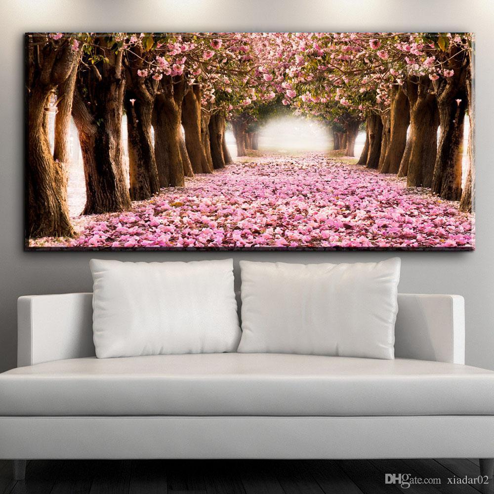 ZZ1538 modern dekoratif tuval sanat güzel Kiraz çiçekleri çiçek yol tuval resimleri için yağ sanat boyama salon baskılar