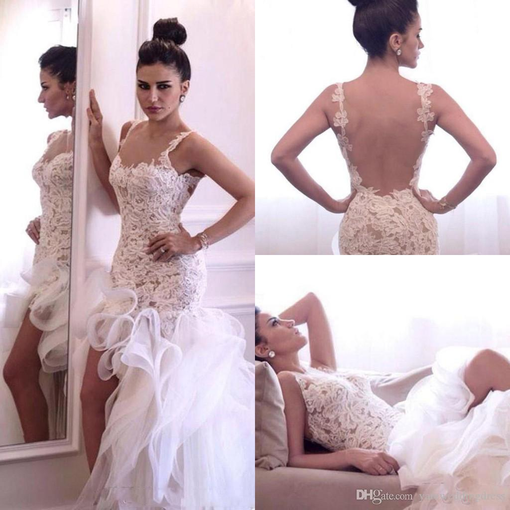 New White Mermaid Wedding Dresses Spaghetti With Lace Applique Bridal Dresses High Low Tiered Ruffle Custom Made Sexy Wedding Dresses 2017