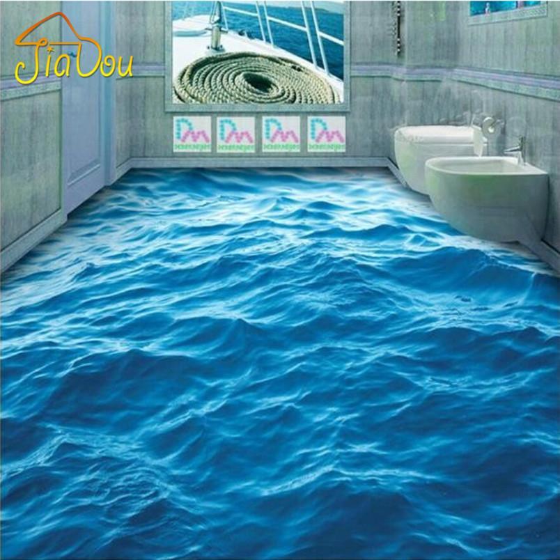 Wholesale Custom Photo Floor Wallpaper 3d Stereoscopic Floor Waves Mural Pvc Wallpaper Living Room Bathroom Self Adhesive Floor Wallpaer Wallpapers