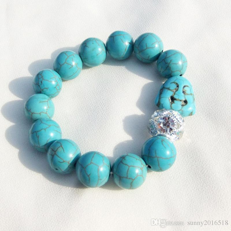 Les Femmes Turquoise Boule Perle Bracelet Cristal Strass Charme Bracelet Chaîne