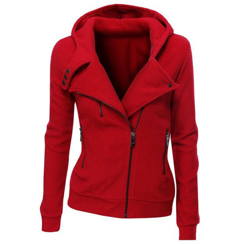 Venta al por mayor- 2016 nuevas mujeres sudaderas de color sólido chaqueta con capucha de manga larga con capucha de manga larga cremallera de otoño de otoño invierno mujer abrigo