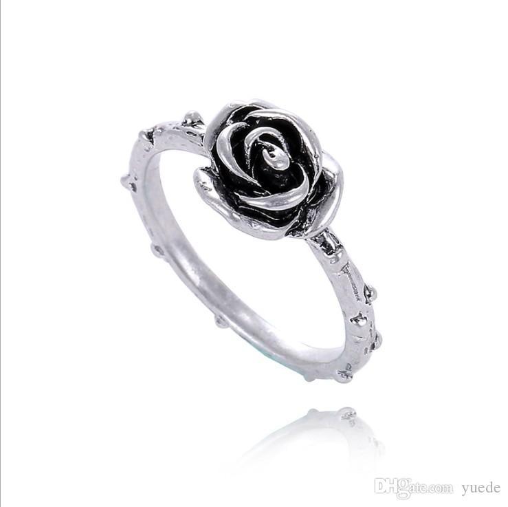 Art und Weise 925 silve Zubehör einzigartige Rose Thailand Sterling Silber retro Ringe mit Pandora Charm Schmuck kompatibel für Frauen