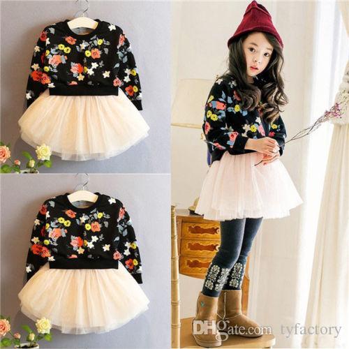 2pcs Vêtements Bébé Filles En Coton Printemps Automne Tenues Top pantalon floral tenues fille