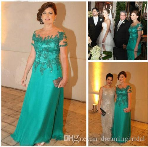 Grüne Mutter der Brautkleider lange Applique Crystal Chiffon Hosen Anzug Hochzeit Kleider nach Maß Plus Größe