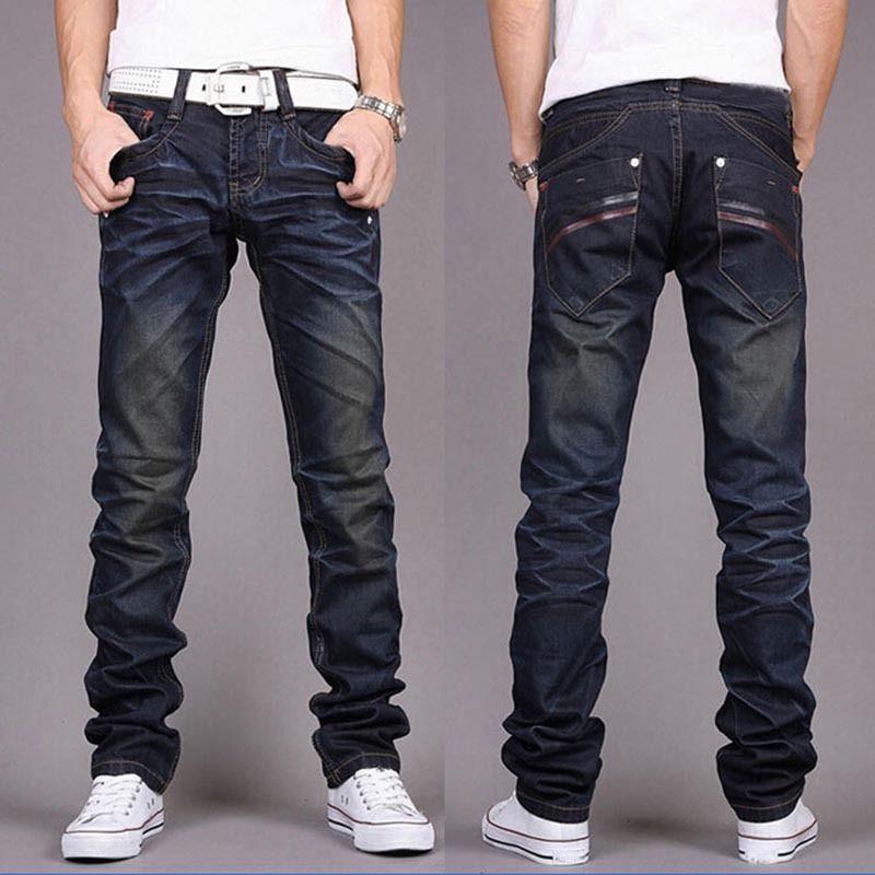 tam boy pantolon mavi STRIGHT erkekler kot cepler için erkekler moda kot pantolon yeni giysiler