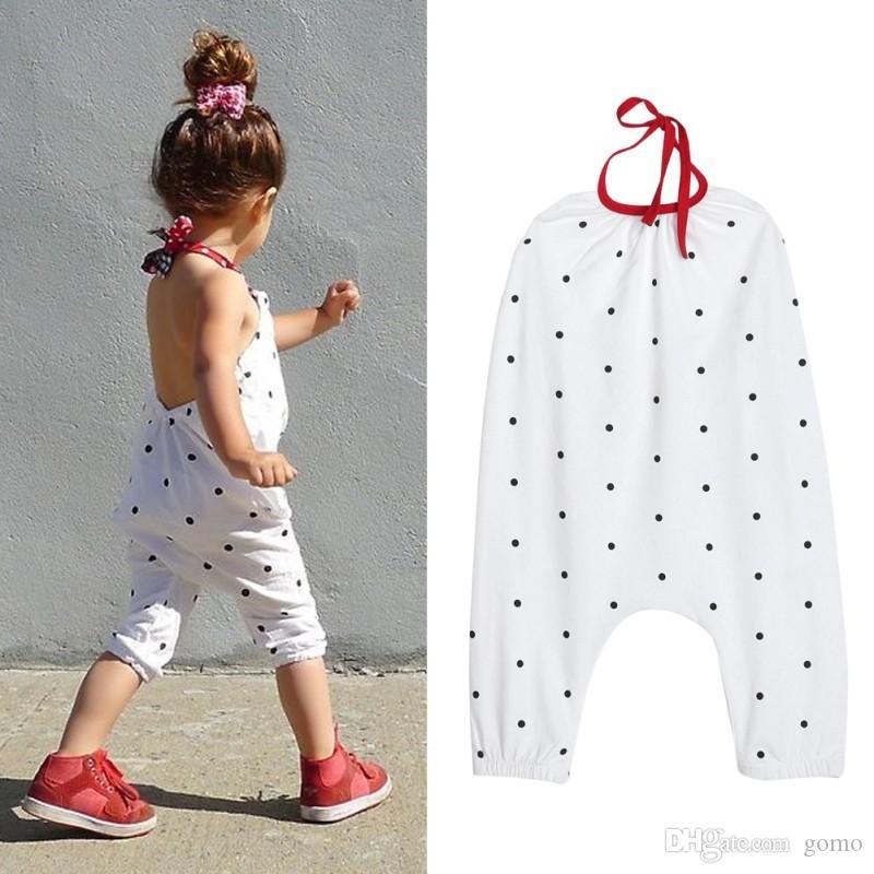 Çocuklar Beyaz Sevimli Polka Dot Baskılı Tulum Tek Parça Takım Elbise Yaz Çocuk Kız Giyim Moda Kız Halter Tulum