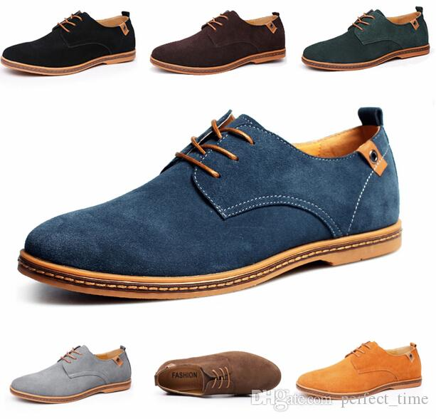 Men Suede Leather Shoes Casual Lace Up Round Toe Loafers Formal Dress Shoes Size