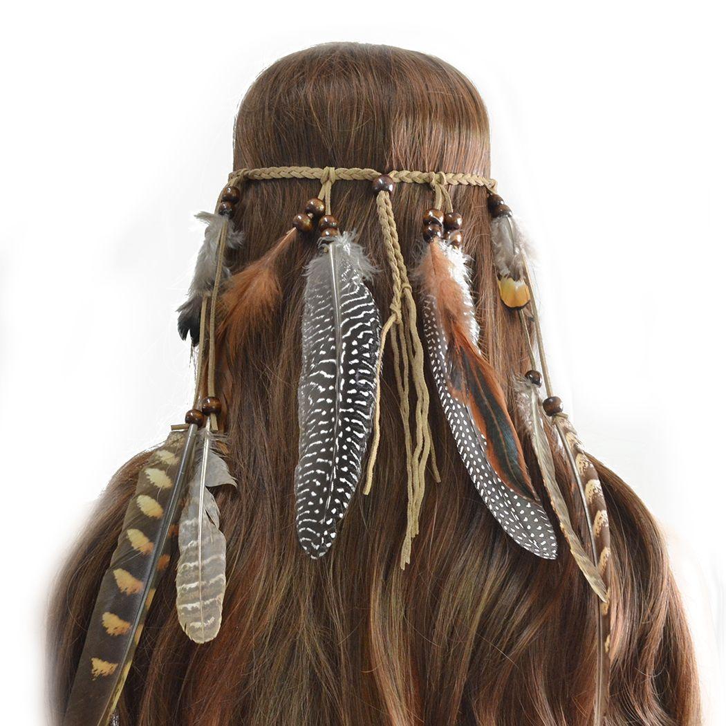 Idealway Handmade Pelle Corda Brown Feather Fandbands Legno Perline Boho Accessori per capelli BOHO Gioielli di moda