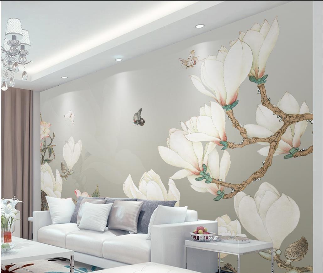 Hand gemalt chinesische Hintergrund Wanddekoration magnolia Malerei Wände 3D Wallpaper 3D-Tapeten für tv Hintergrund