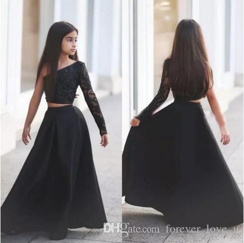 Zwei Stücke Schwarz Eine Schulter Mädchen Pageant Kleider Illusion Langarm Kristalle Perlen Spitze Oberboden Länge Blumenmädchen Kleid für Hochzeiten