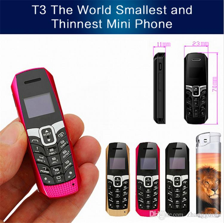 Original LONG-CZ T3 smallest thinnest mini mobile phone bluetooth 3.0 dialer Phonebook/SMS/music sync FM magic voice cell phone