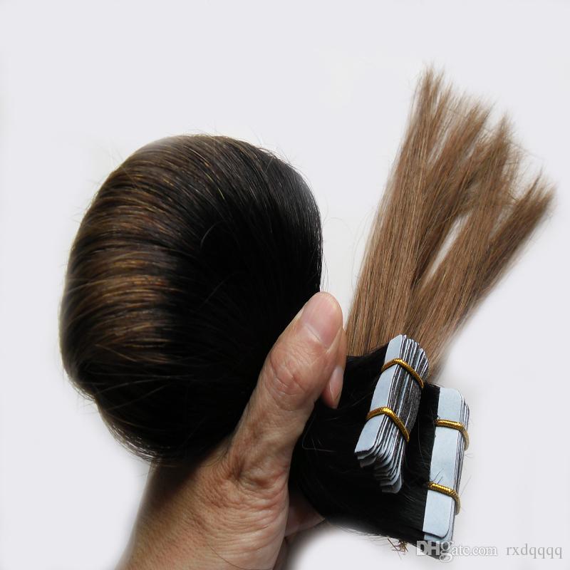 Ombre cheveux brésiliens 100g 40 pcs Droite # 1B / 6 bande dans les extensions de cheveux humains Ombre Vierge Remy Peau Trames humains cheveux