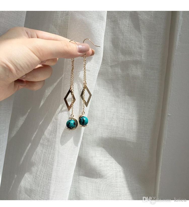 1720858d5 ... Hot Korea minimalist small diamond Vintage Rosary ear Clip Stud women aesthetic  temperament copper pendant Non