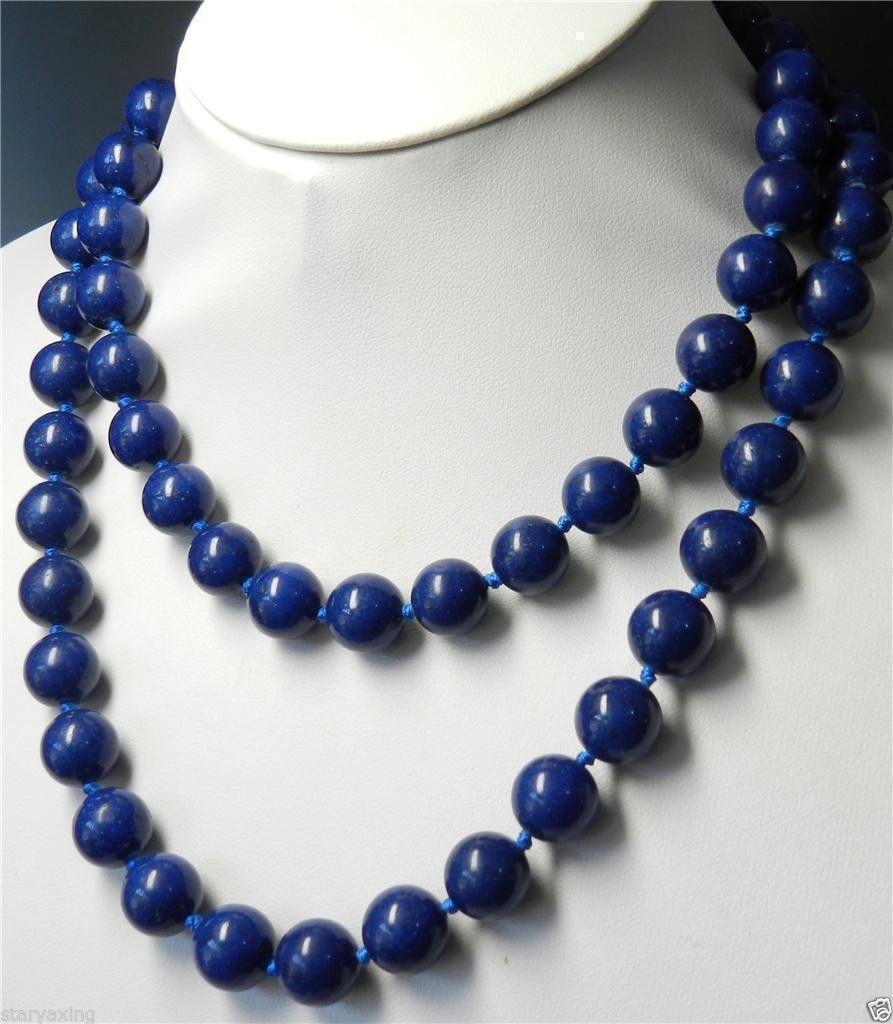 "10mm Mavi Lapis Lazuli Yuvarlak Boncuk Kolye 35 """