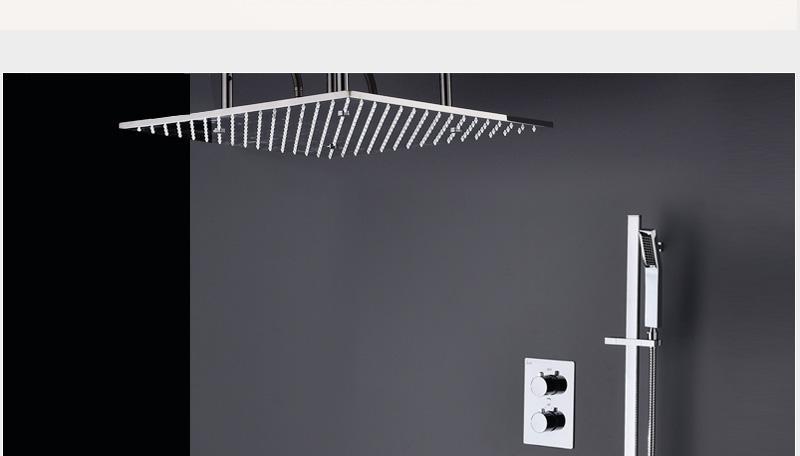 hm Bathroom Shower Head with 4 Ways SUS304 20inch Rain & Mist & Brass Slide Bar & Brass Spout & Brass Handheld Shower Set (10)