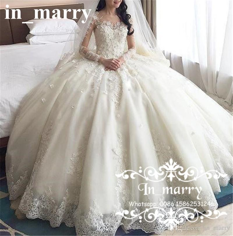 Luxury 3d Floral Lace Ball Gown Wedding Dresses 2017 Victorian Long ...
