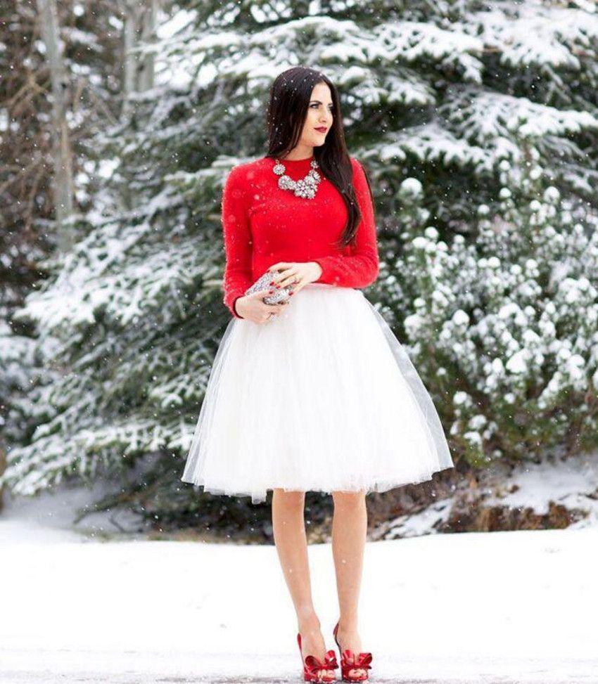 Cheap Short Tulle Skirts Custom Made White Knee Length Pleated Plus Size Skirts For Women Summer Tutu Skirt simple fashion