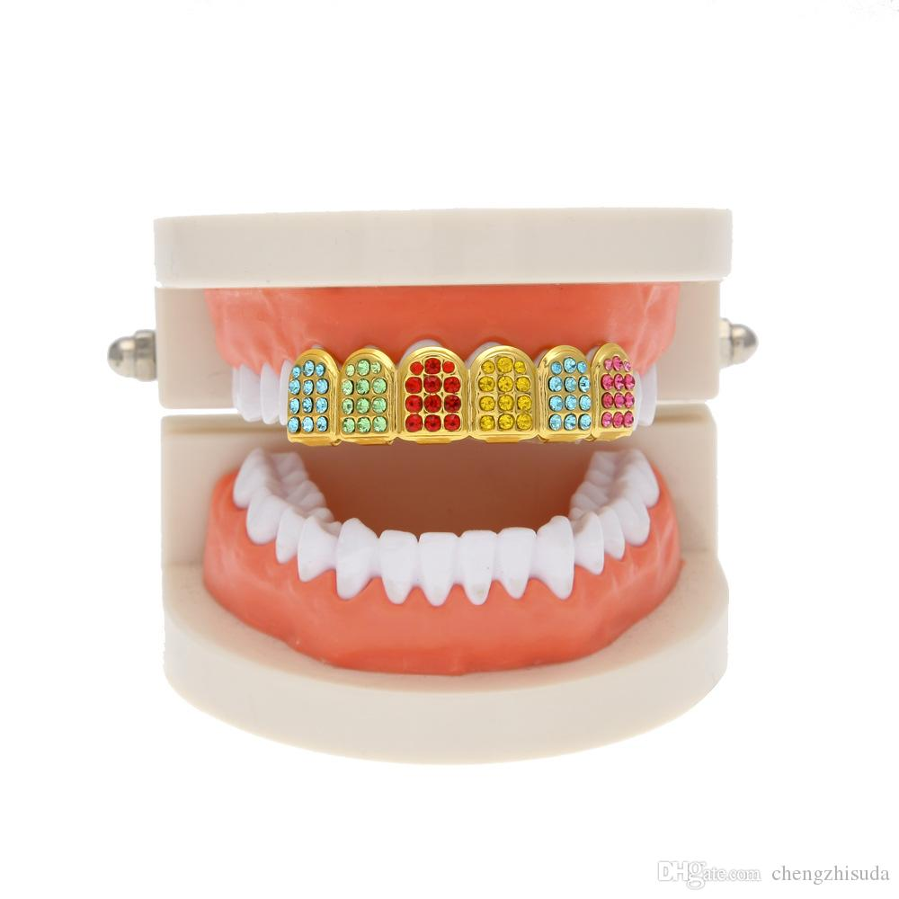 Hip Hop 18k Gold Plated Colorful Crystal Teeth Grillz Top Grill For Halloween Christmas Party Vampire Teeth For Men