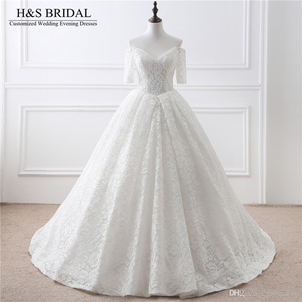 V-neck Off Shoulder Lace Wedding Dress vestido de noiva Short Sleeve Bridal wedding gown Lace Up cheap wedding dresses turkey