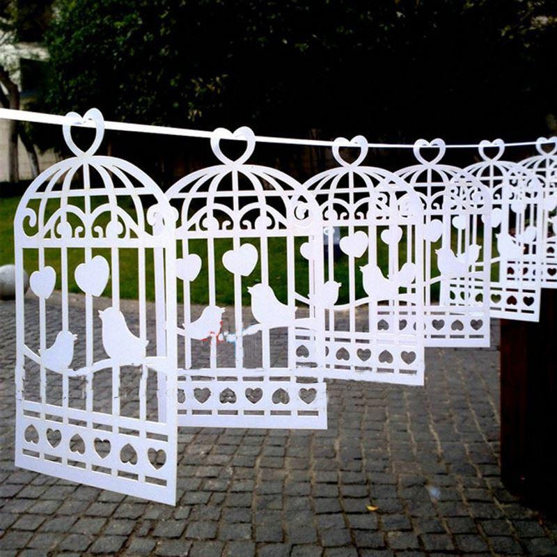 Lazer Cut Love Birds Design Vintage Wedding Bunting Banner Photo Booth Props Garland Bridal Shower Wedding Party Decoration (5)
