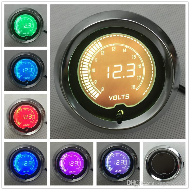 """PRETO 2"""" (52mm) LCD Digital 7 Color Display Volt calibre 8-18 V / AUTO CALIBRE"""