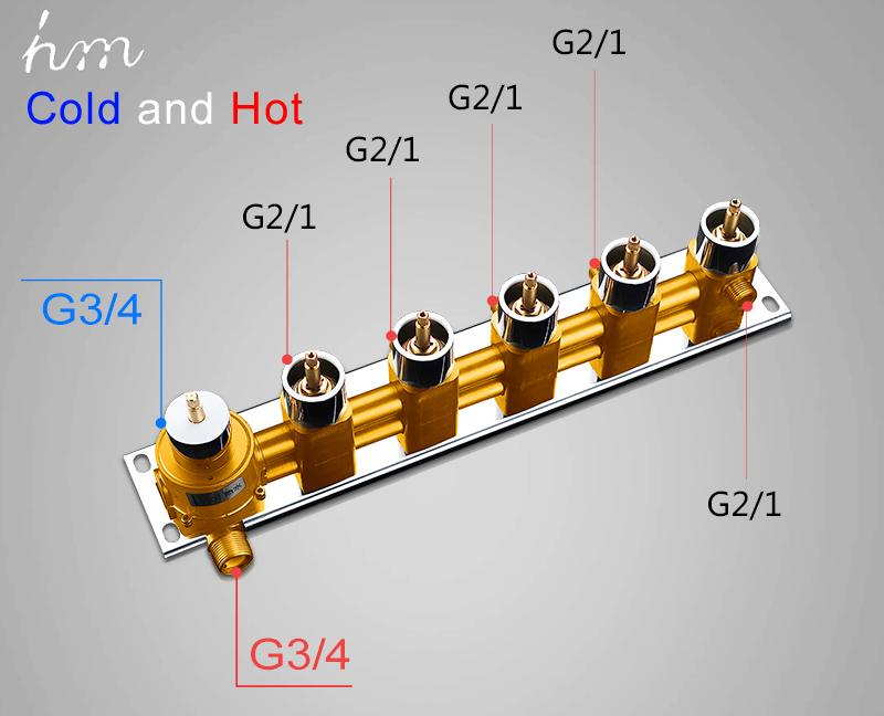 Bathroom Shower Valve Large Water Flow Shower Accessories 5 ways Thermostatic Brass Diverter Faucet Tap Shower Controller