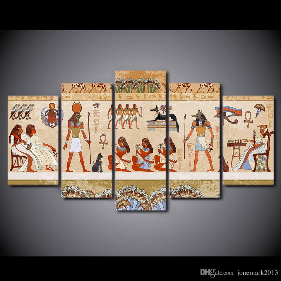 HD Printed 5 Piece Canvas Art Egyptian Ancient Dynasty Painting Modular Wall Pictures for Living Room Home Decor Free Shipping CU-2364B