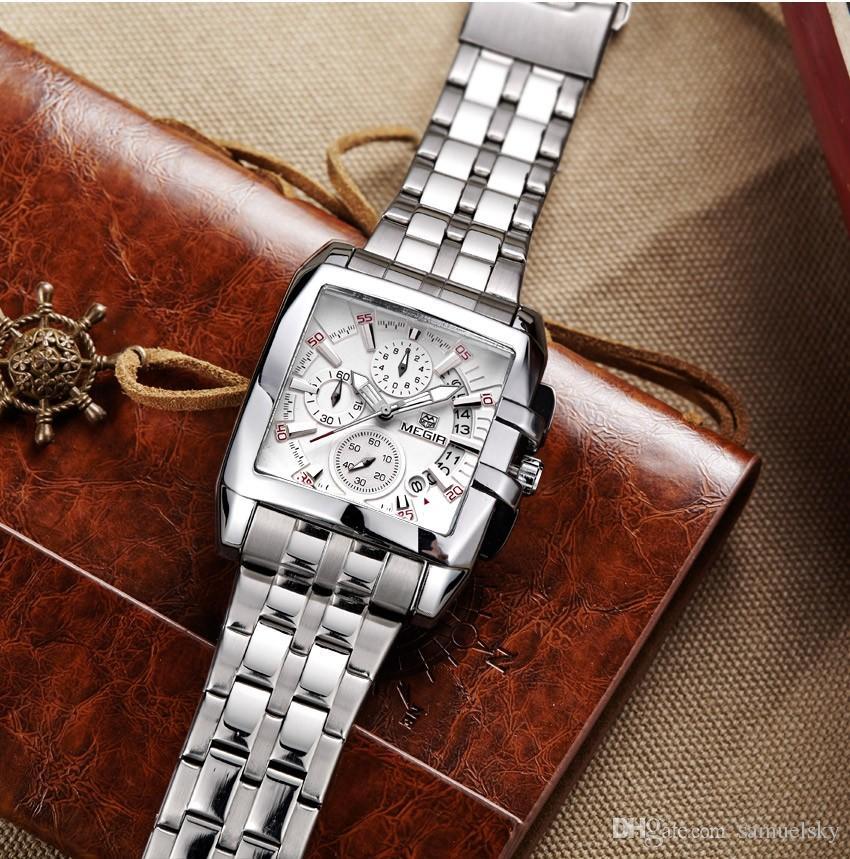 2019 Swiss Classic Business Wrist Watch dla mężczyzn Charm Moda Pełna Zegarek Ze Stali Nierdzewnej Kwarcowy Kalendarz Mężczyzna Wristwatch Prostokąt Dial