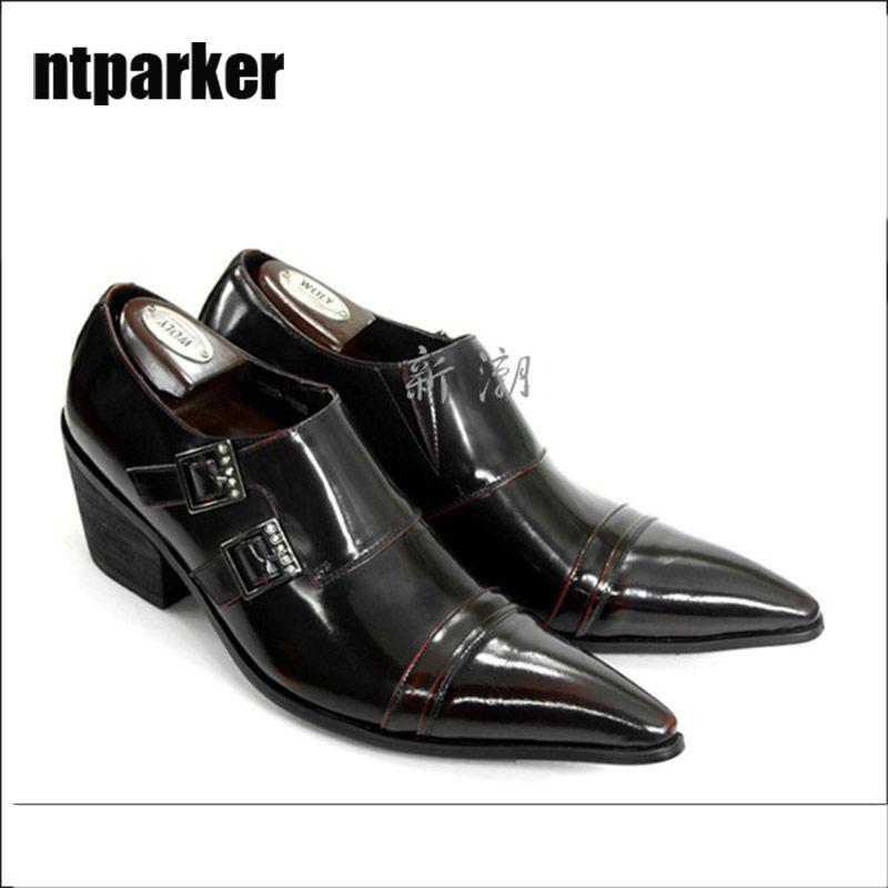 Scarpe da uomo in stile giapponese tipo a punta di moda Vino rosso / nero Altezza aumentata scarpe da business, grande dimensione EU38-46!