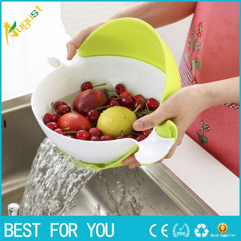 New hot 4 Colors Kitchen Sink Basket Plastic Draining Double Layer Washing Basket Vegetables Strainer Fruit Washing Basket