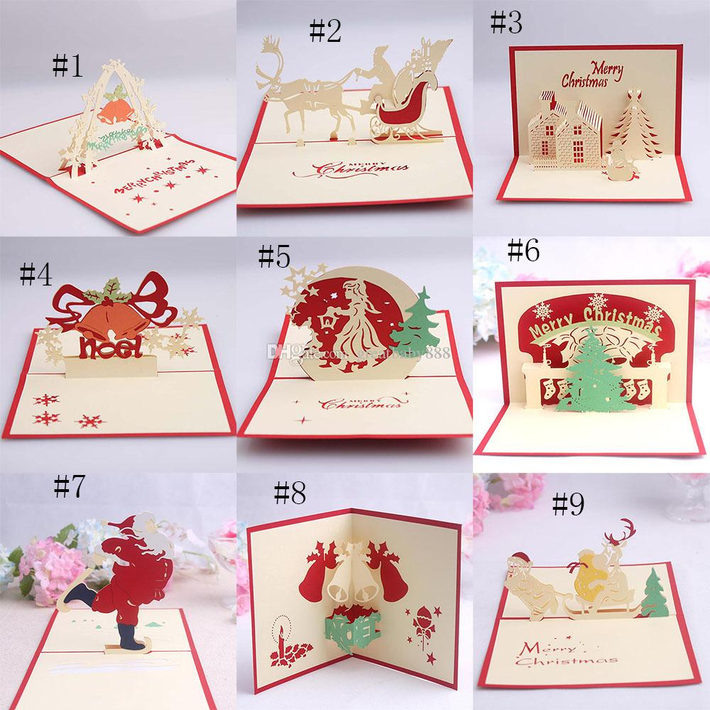 Handmade Kirigami Origami 3d Pop Up Card Creative Merry Christmas