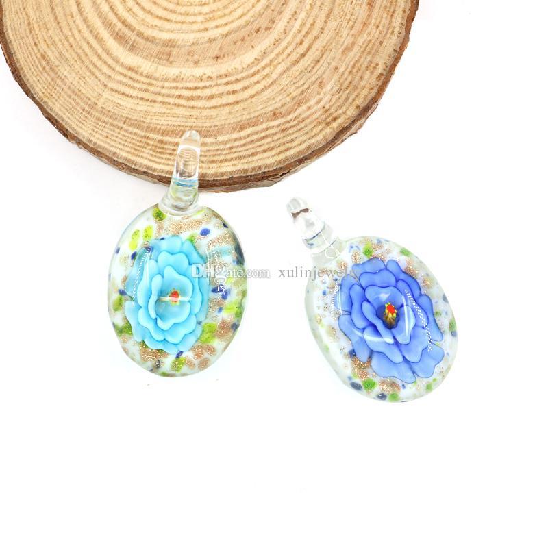 Lampwork Glass Pendants Flat Round Handmade Arts Fused Peony Pendant Charms For Necklaces Making 12pcs/box, MC0041