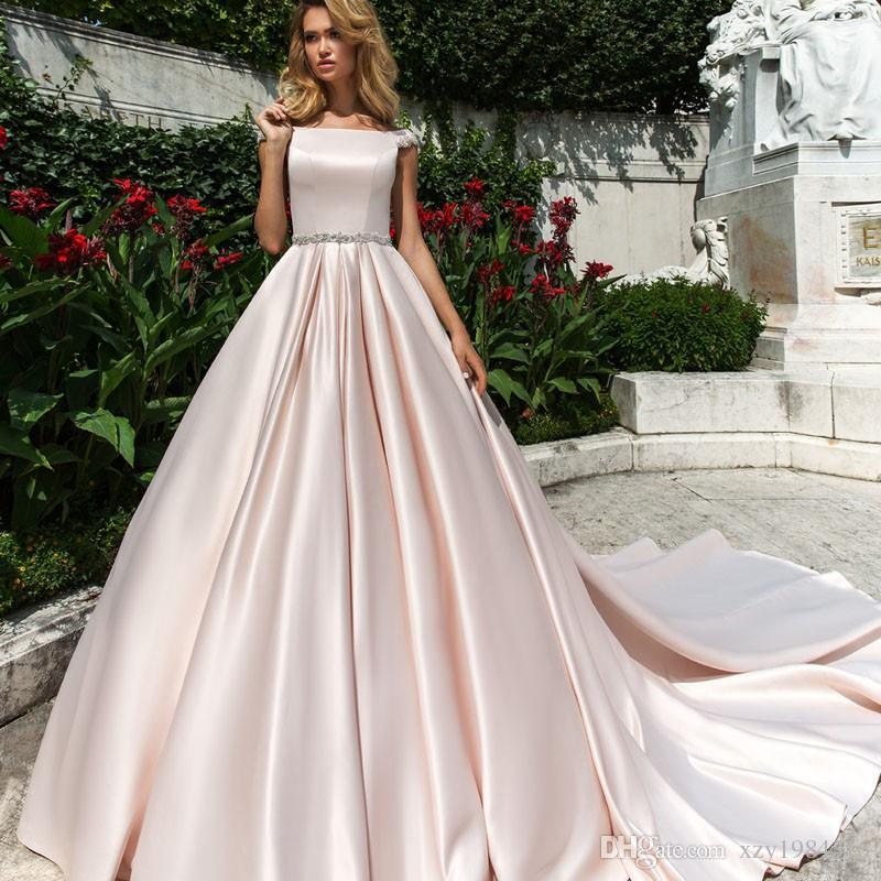 Discount Baby Pink Satin Wedding Dresses Beteau Neckline Match