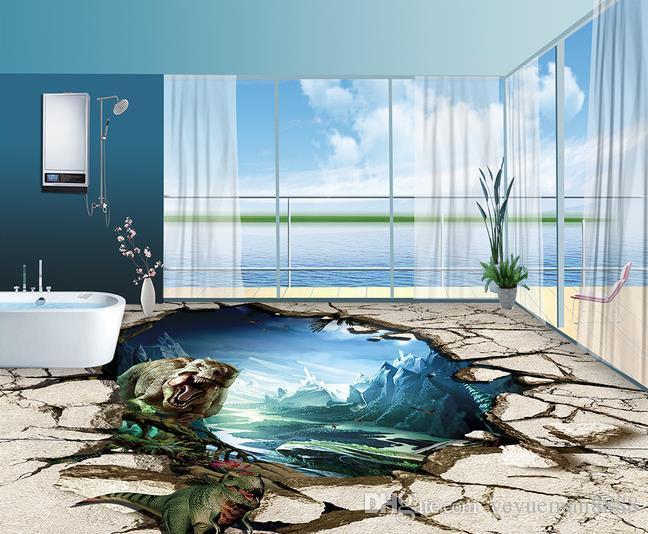 Custom Vinyl Flooring Dinosaur Waterproof Wallpaper For Bathroom