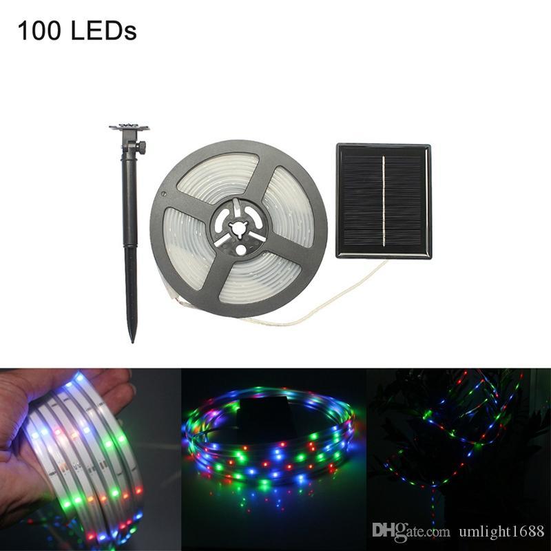 Umlight1688 5 M LED Strip Light Solar Zasilany SMD2835 100leds IP67 Wodoodporna Kryty Outdoor Decoration Fairy Light Xmas, Party, Ogród, Bar