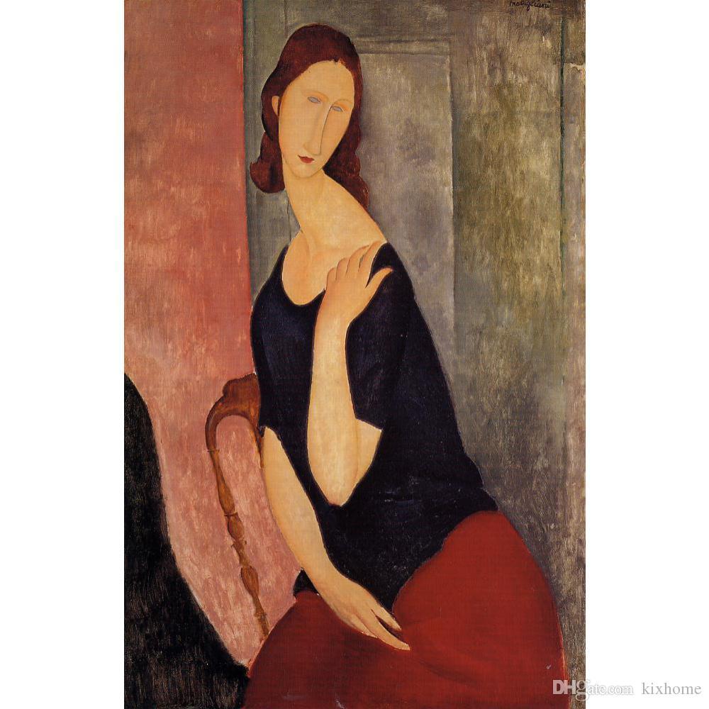 Peintures de belles femmes Portrait de Madame L Amedeo Modigliani toile portrait abstrait art à la main de haute qualité