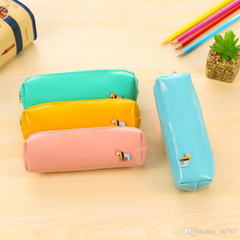 Fresh Style Candy Color Horse PU Leather Pencil Case Stationery Storage Bag School Supplies free shipping